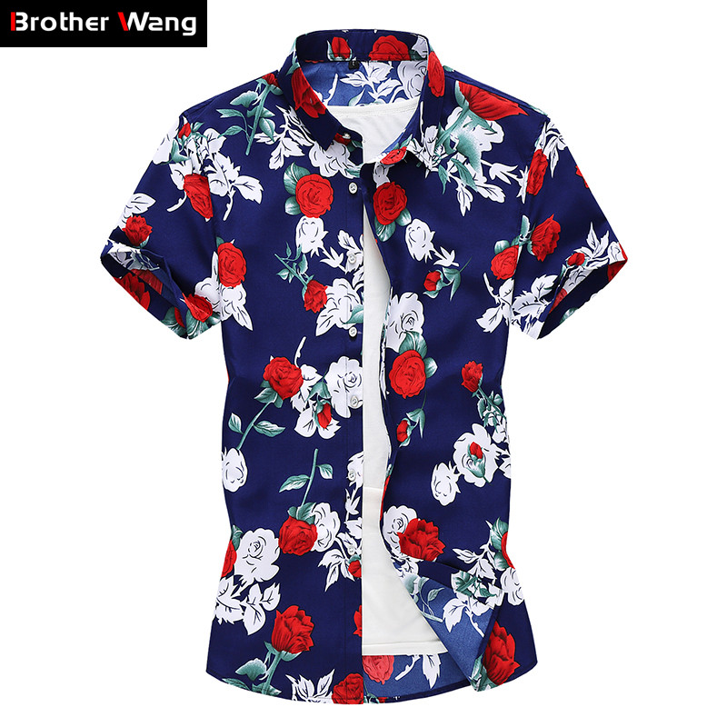 Plus Size 5XL 6XL 7XL Men's Floral Shirt 2020 Summer New Fashion Personality Short Sleeve Hawaiian Shirt Male Brand Clothes