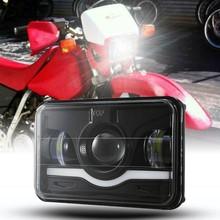 Negro 4X6 pulgadas faro LED para motocicleta DRL Hola cruce para Honda XR250 XR400 XR650 Suzuki DRZ400SM DRZ400S DRZ400E