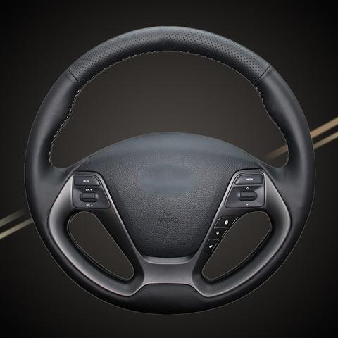 tranca de carro de couro artificial na cobertura do volante para kia k3 2013 k2