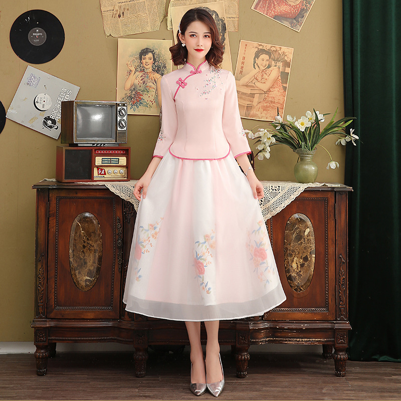 SHENG COCO Hanfu Costume Traditional Chinese Clothing Retro Embroidery Women Pink Suits Summer Ensemble Femme New Style Fresh