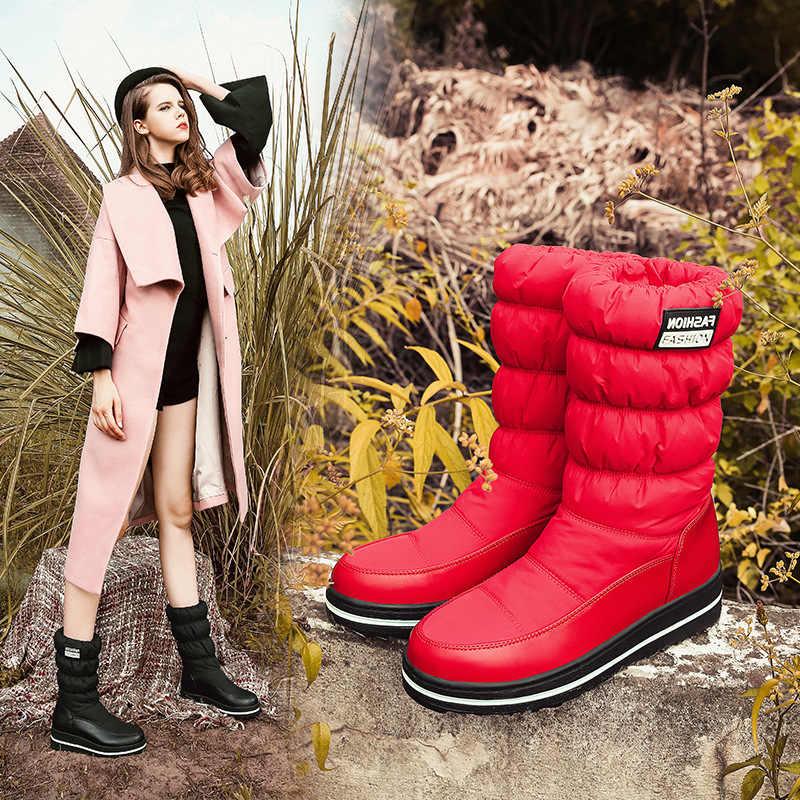 2018 kadın kar botları aşağı kış aşağı kar botları moda günlük çizmeler diz yüksek topuklu siyah mavi kırmızı renk kama topuklu HX-90