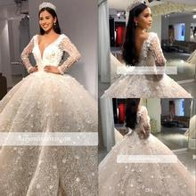 Luxury Beads Ball Gown Wedding Dresses V Neck Sequins Beadings Floral Appliques Long Sleeve Bridal Gown robe de mariee