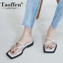 Taoffen Women Sandals Shoes New Design Square Low Heels Slip