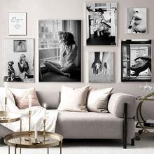 Nowoczesny modny plakat czarno-biały Wall Art kobieta obrazy na ścianie wydruki na płótnie do projektowania pokoju bezramowe tanie tanio Rustom CN (pochodzenie) Płótno wydruki Pojedyncze Wodoodporny tusz Martwa natura Unframed Nowoczesne N3542 Malowanie natryskowe