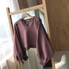 Autumn 2019 Sanitary Clothes New Women Loose Hole Sleeve Overcoat Pullovers V-Neck Sweatshirt