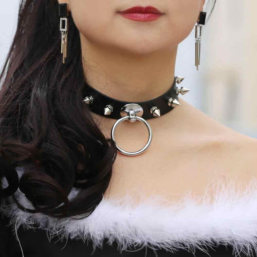 섹시한 펑크 스파이크 가죽 고스 초커 목걸이 여성 하라주쿠 고딕 메탈 블랙 목걸이 초커 칼라 쥬얼리 클럽 파티