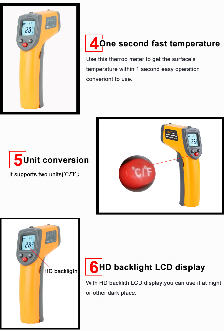 Hdc2793bc75e849e2b790751d606ca517Y RZ IR Infrared Thermometer Thermal Imager Handheld Digital Electronic Outdoor Non-Contact Laser Pyrometer Point Gun Thermometer