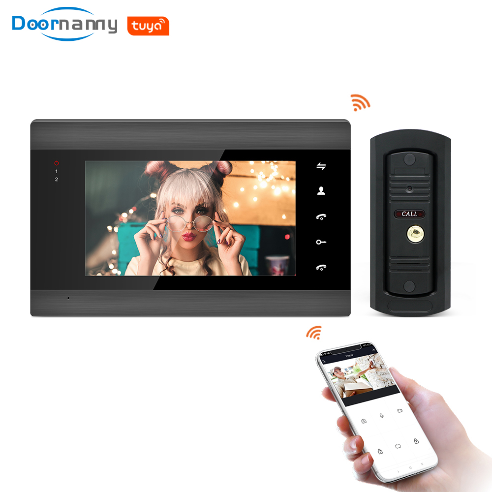 Doornamy 7 Inch  WiFi Tuya Smart IP Video Door Phone Intercom System With 720P HD Wired Doorbell Camera Support Remote Unlock