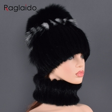 New Natural Mink Fur Hat Scarf Suite winter women's hats Real Mink Fur cap High Quality Women 100% Genuine mink collar for lady