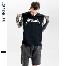 Be Men'S Wear | 2019 Summer Europe And America High Street Heavy Metal Rock And Roll Loose Retro Vest yin hua kuan T-shirt Custo(China)