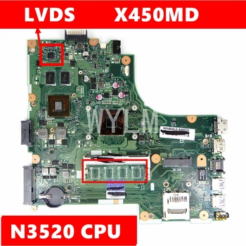 X450MD N3520 CPU Motherboard REV 2.0 For ASUS X450 X450M X450MD X450MJ X452M Laptop Mainboard Test OK