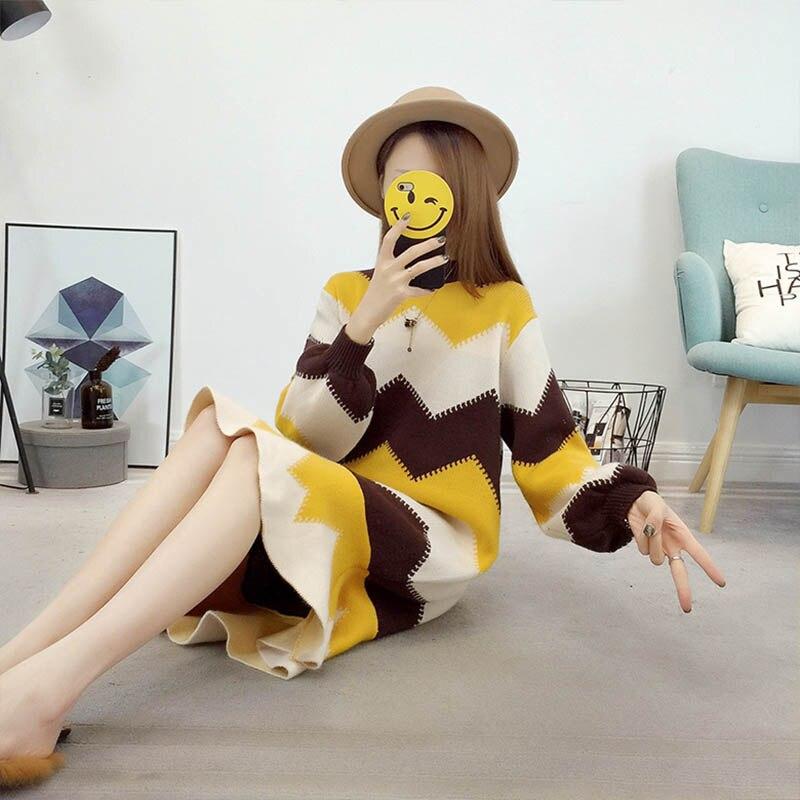 Женское трикотажное платье с геометрическим рисунком, Осеннее плотное платье средней длины с длинным рукавом, зима 2019|Платья|   | АлиЭкспресс
