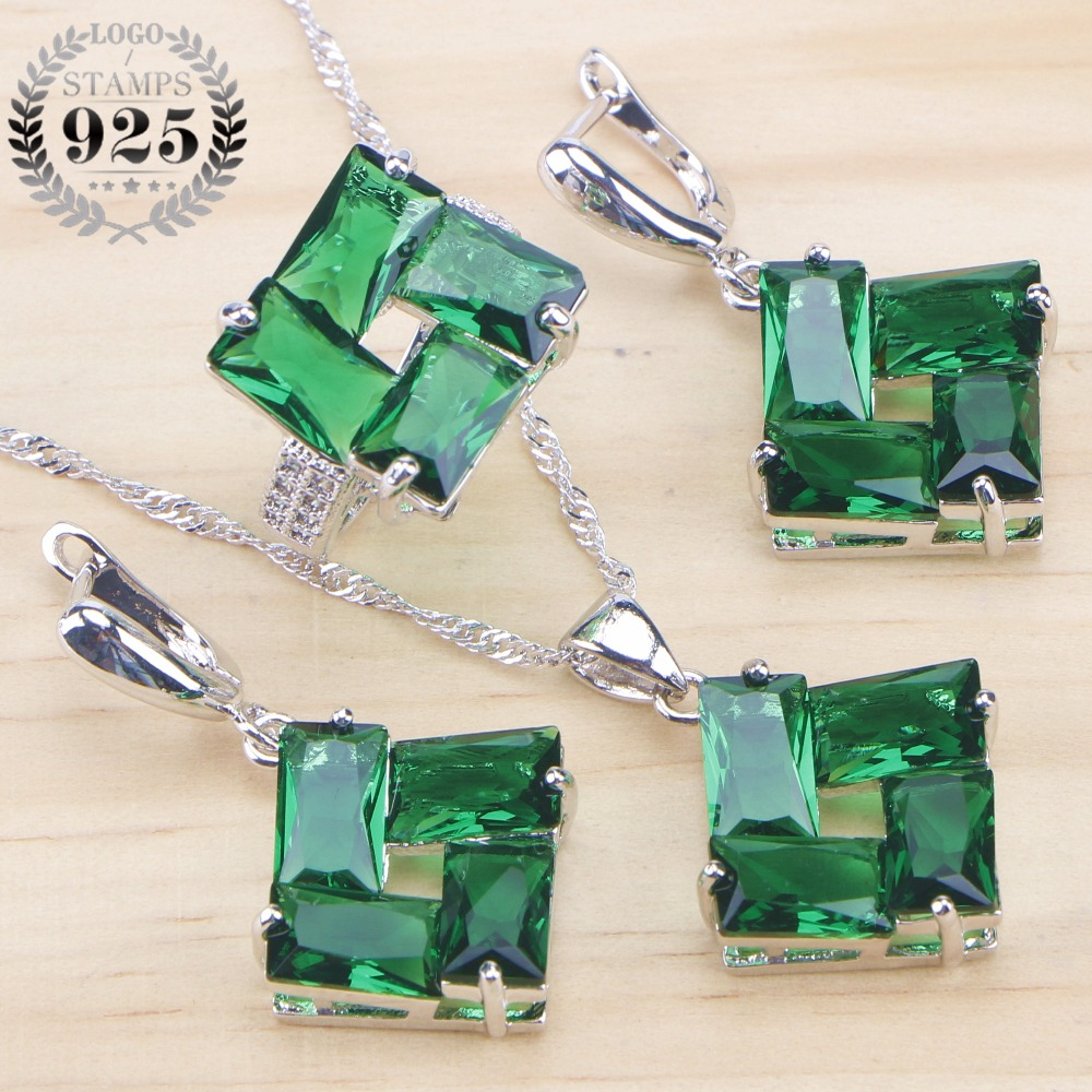 Green Zirconia Bridal Silver 925 Jewelry Sets Wedding Jewelry With Stone Earrings Ring For Women Pendant Necklace Set Gift Box
