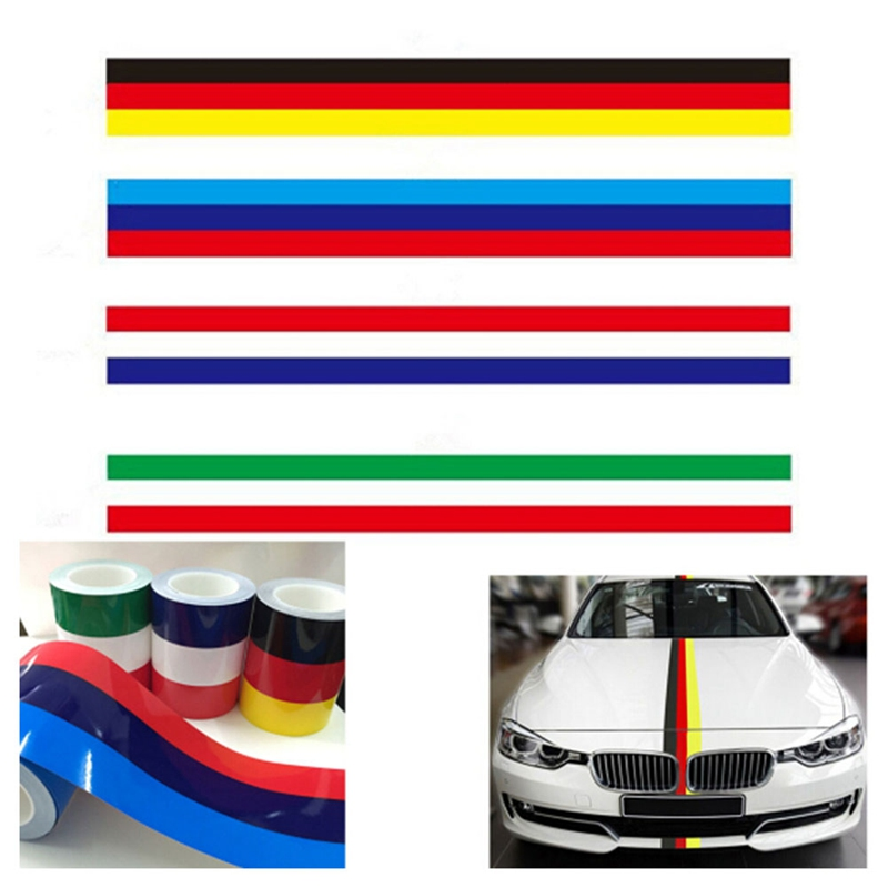 1 Piece 1M * 15CM M Type Germany Italy France Flag <font><b>Stripe</b></font> <font><b>Car</b></font> Hood Sticker Body Decal For <font><b>BMW</b></font> Auto Stickers Accessories image