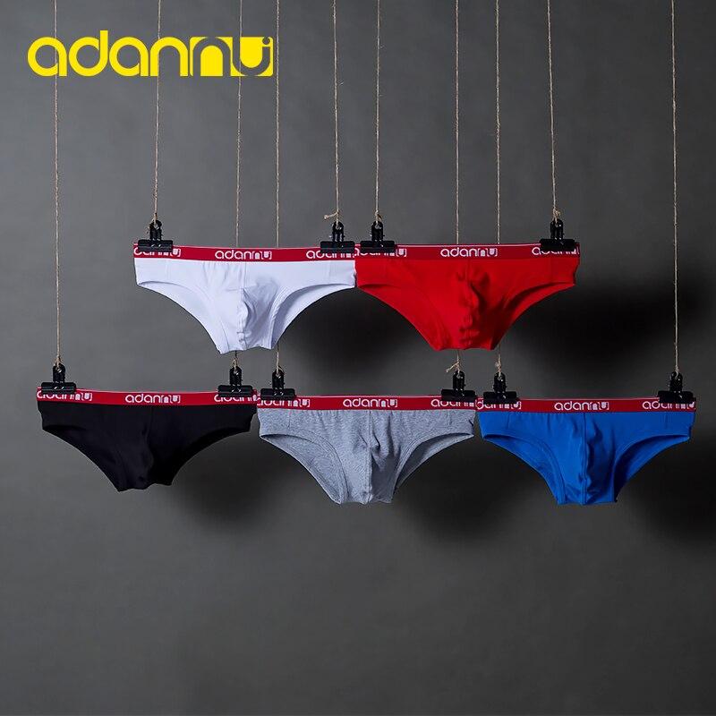 New Arrivals ADANNU Men Underwear Sexy Briefs Cotton Male Panties Elasticity U Pouch Mens Underpants Men Briefs 5 Color AD41