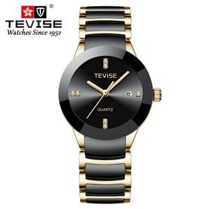 Image 2 - TEVISE T845LS Das Mulheres Relógios Relógio de Quartzo Mulheres Moda Casual Senhoras Cerâmica Relógio Relógio de Pulso À Prova D Água Ferramenta de Correção Dropshipping