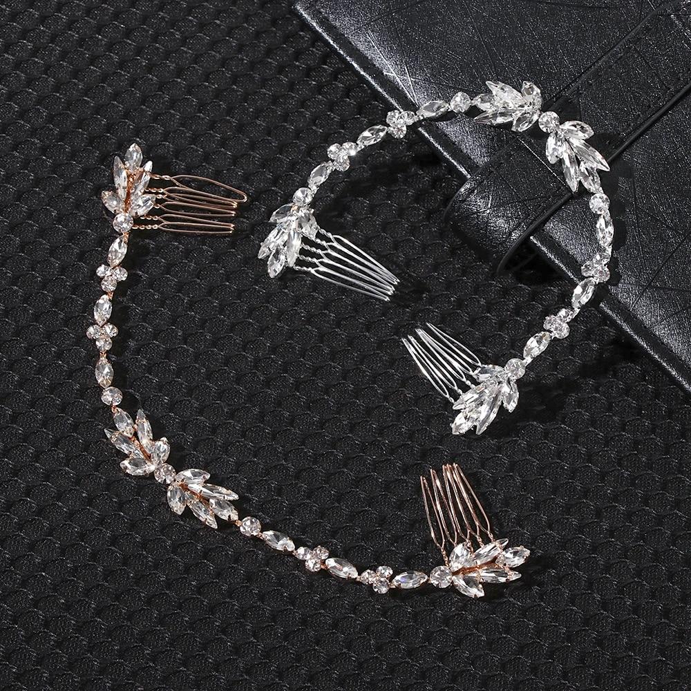 Bride Comb Scattered Rhinestone Headband Bridal Chain Bridesmaid Headpiece