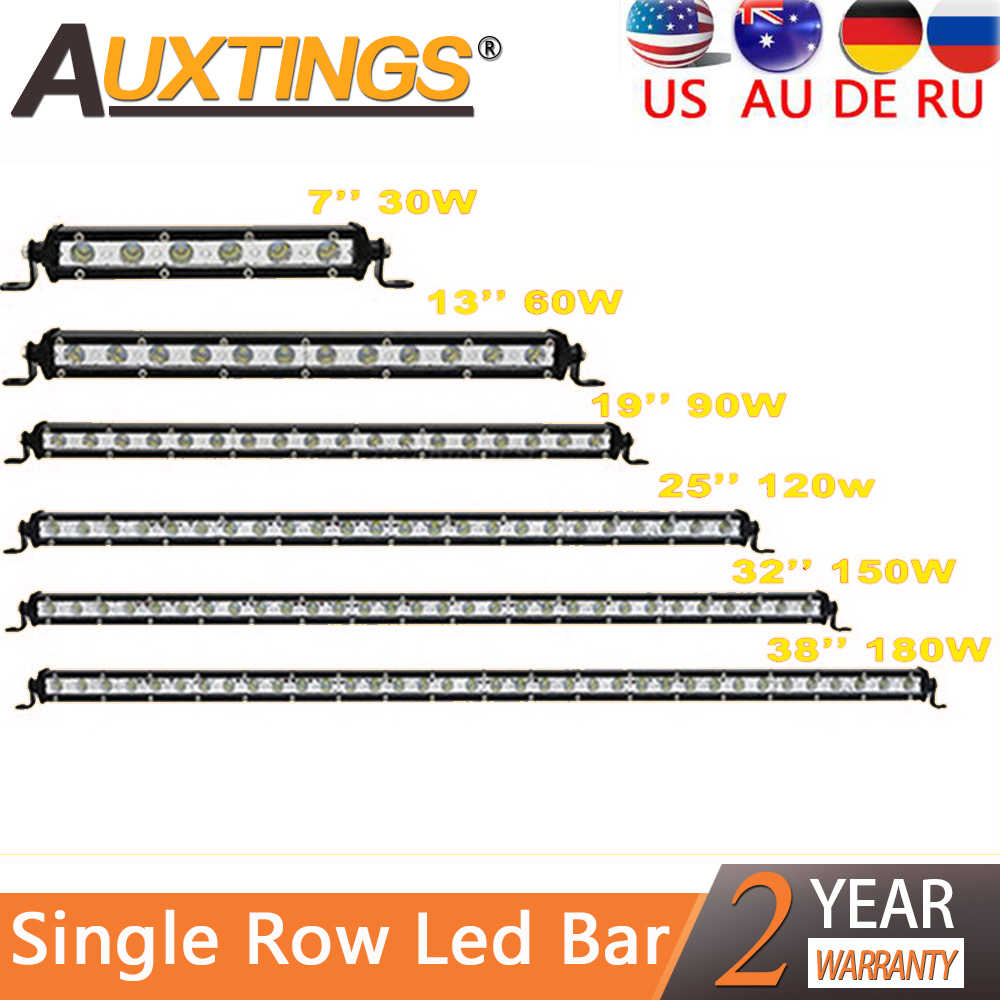 "Auxtings 4'' 7"" 13"" 20"" 25"" 32"" 38'' inch Slim LED Light Bar Single Row 90W 120W 150W 180W For SUV 4X4 Off Road LED Work Light"