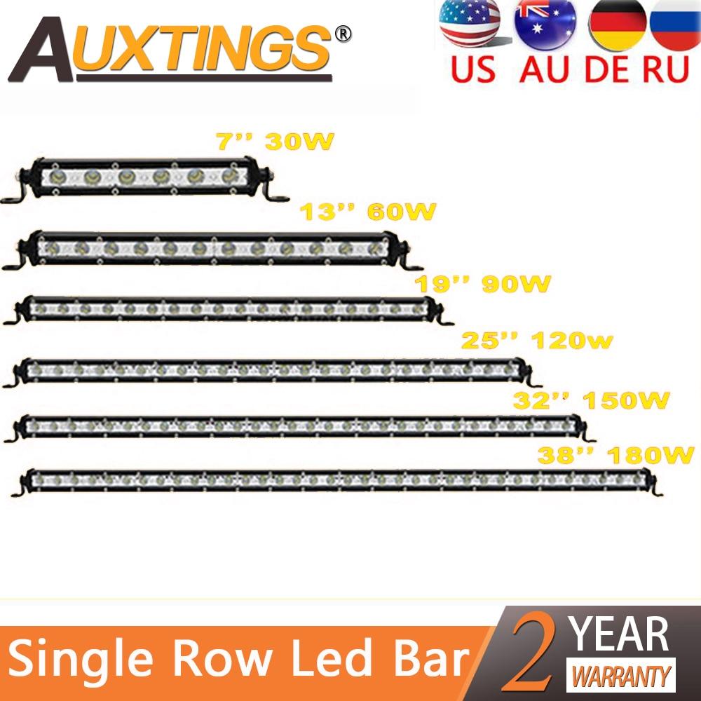 "Auxtings 4'' 7"" 13"" 20"" 25"" 32"" 38'' inch Slim LED Light Bar Single Row 90W 120W 150W 180W For SUV 4X4 Off Road LED Work Light(China)"