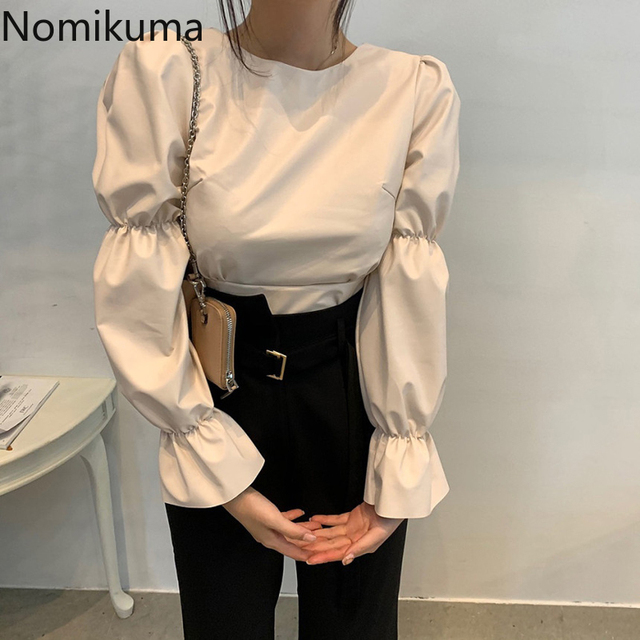Nomikuma Backless Lace Up Puff Sleeve Shirts Women Solid Color O Neck PU Leather Stylish Blouse Female Korean Chic Blusas Mujer 4