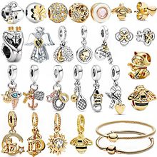 Hot Sale 14k Gold Two-Tone 925 Sterling Silver Beads Golden Charms Collection Fit Original Pandora Bracelets Women DIY Jewelry