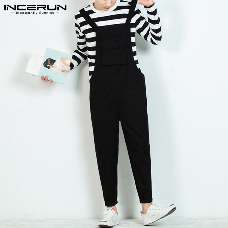 INCERUN Fashion Men Jumpsuit Bib Pants Solid 2020 Joggers Pockets Streetwear Loose Cotton Straps Suspender Men Overalls Rompers