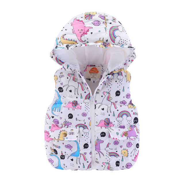 Mudkingdom Boys Girls Hooded Vest Sleeveless Hooded Wool Vest Jacket Cartoon Print Coat Kids Warm Cashmere Vest Outwear Clothes 4
