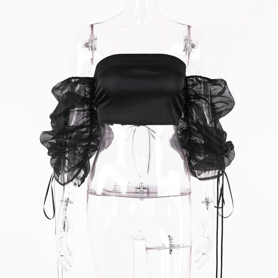 Kealofea Vrouwen Elegante Organza Mesh Blouse Cropped Top Mooie Bladerdeeg Mouw Patchwork Shirts Off Shoulder Herfst Streetwear Tops