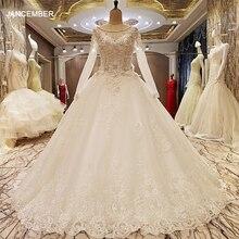 LS99064 élégant dentelle robe de mariée robe de bal cristal robes de mariée robe de mariage 2018 vraies photos
