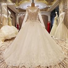 Ls99064 elegante laço vestido de casamento vestido de baile cristal vestidos de casamento robe de mariage 2018 fotos reais