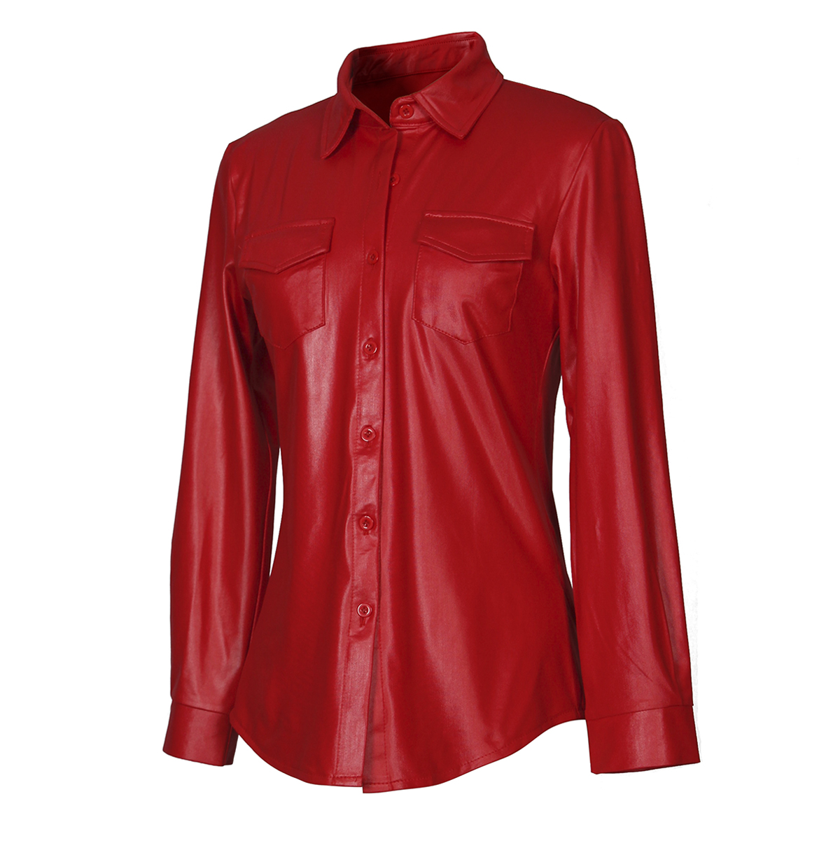 Hot Selling European And American-Style Nightclub Ladies Sexy WOMEN'S PU Leather Long-Sleeve Shirt