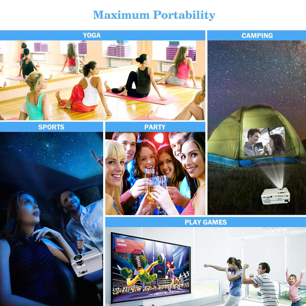 Mini Projector VS 313 Home Theater Projectors Portable Zoom Led Full HD Projector 2000 Lumes Colorful Support 4K HDMI/USB/VGA - 5