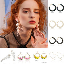 New Shiny Crystal Earring Fashion All-match Geometric Big Round Earrings Party Jewelry Gifts Hoop Rhinestone Oorbellen wholesell(China)