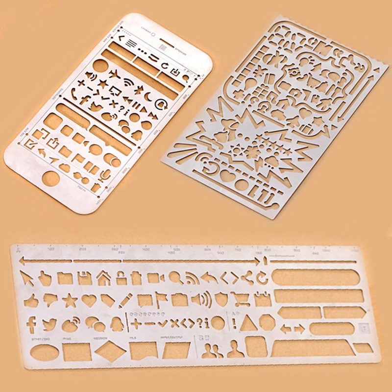 Multifunctional Stainless Steel Hollow Ruler Cat Geometric Figure Drawing Stencils Templates Metal Ruler Diy Tool Diary Template