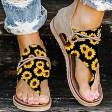 Fashion Women's Sunflower Printed Flip Flops Plus Size Ladies Summer Clip-Toe Shoes Zipper Sandals zapatos de mujer zapatos