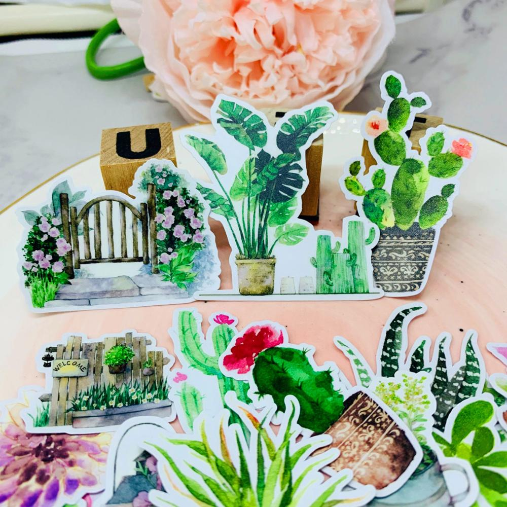 24pcs Plant Flower Cactus Kids Fun Paper Stickers Homemade Bookkeeping Decals On Laptop / Decorative Scrapbooking / DIY