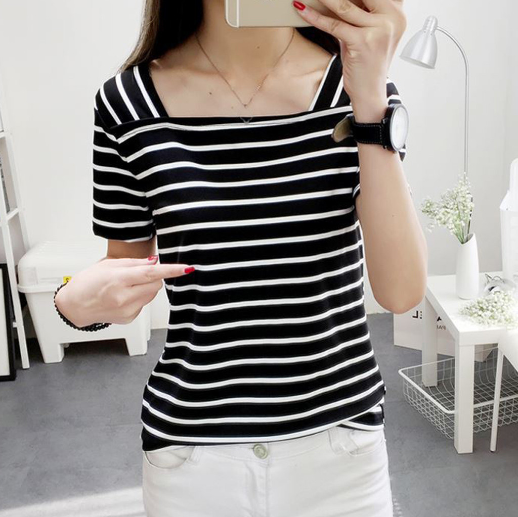 Stripes Print T-Shirt Tops Short Sleeve Square Neck Tshirt Pullover Slim Korean Top Women Office Summer T-Shirt camisa feminina