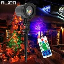 ALIEN RGB กันน้ำกลางแจ้งสวนคริสต์มาสเลเซอร์โปรเจคเตอร์ปาร์ตี้วันหยุดคริสต์มาสตกแต่งแสงฝักบัว Remote