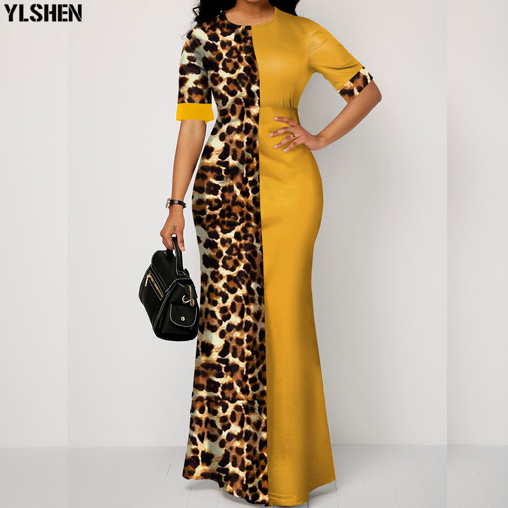 Summer African Dresses For Women New Dashiki Yellow Leopard African Clothes Plus Size Print Retro Africa Bodycon Long Maxi Dress