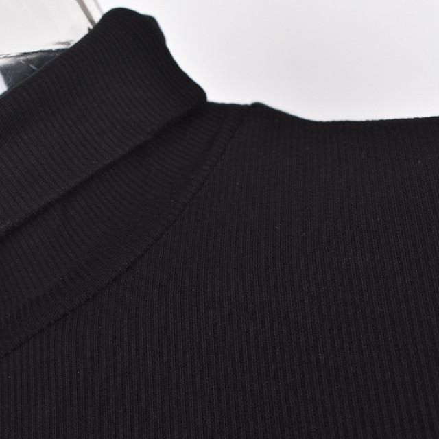 New Women's Wear Short Sexy Black Dress High Collar Long Sleeve 6