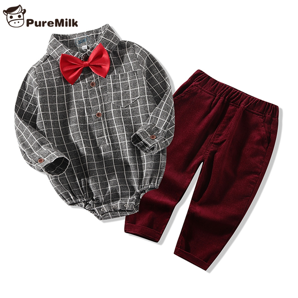 PureMilk Baby Boys Clothes Plaid Jumpsuit With Pant NewBorn Baby Clothing Set