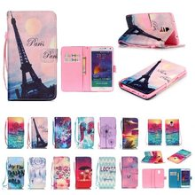 SAMSUNG Note4/5 Coloured Drawing Leather Case Leaning Tower Cartoon Card Instert Holder Huawei P8lite Phone Case(China)