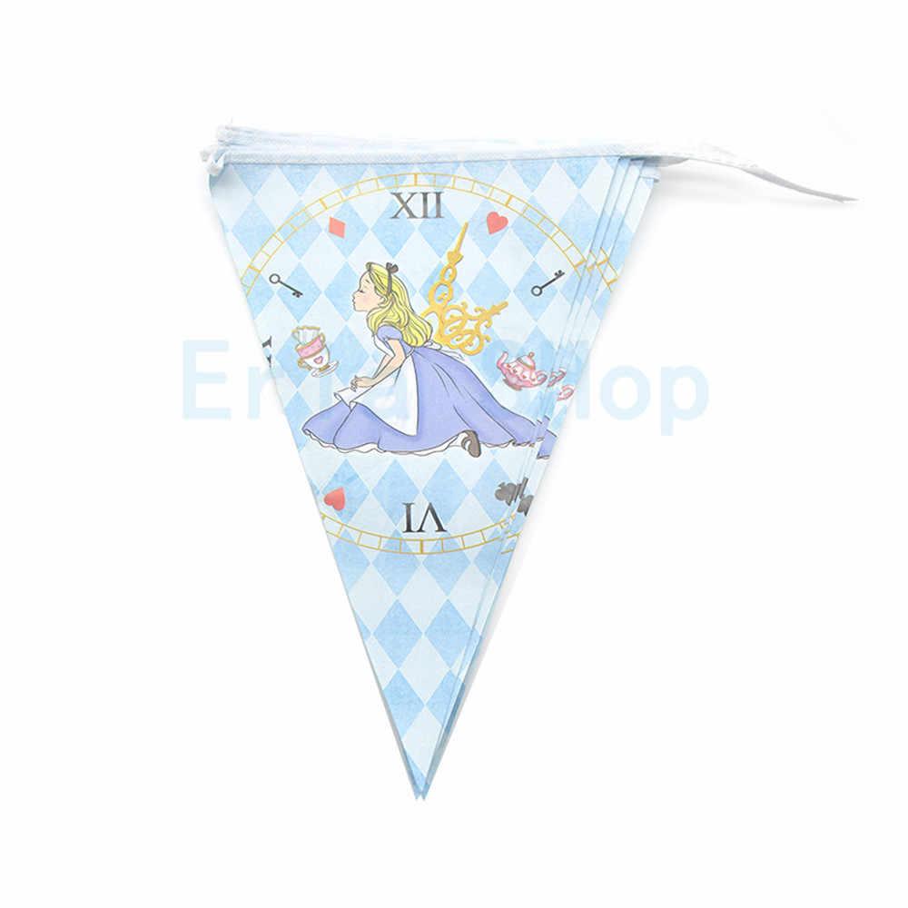 أليس في بلاد العجائب موضوع حفلة عيد ميلاد مجموعة زينة ورقة كأس راية لوحة الاطفال فتاة الأطفال يوم أليس لوازم الحفلات