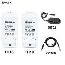 Sonoff TH10/16A Wifi inteligente interruptor de control inalámbrico sonda de temperatura y humedad Sensor de interruptor Wifi inteligente casa controlador remoto