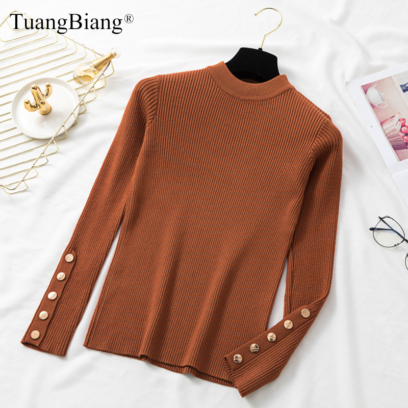 Ladies Long Sleeve Knit Autumn Sweater Winter Basic Metal Button Women Elastic Turtleneck Pullovers Split Cuff Tops Jumpers 2019