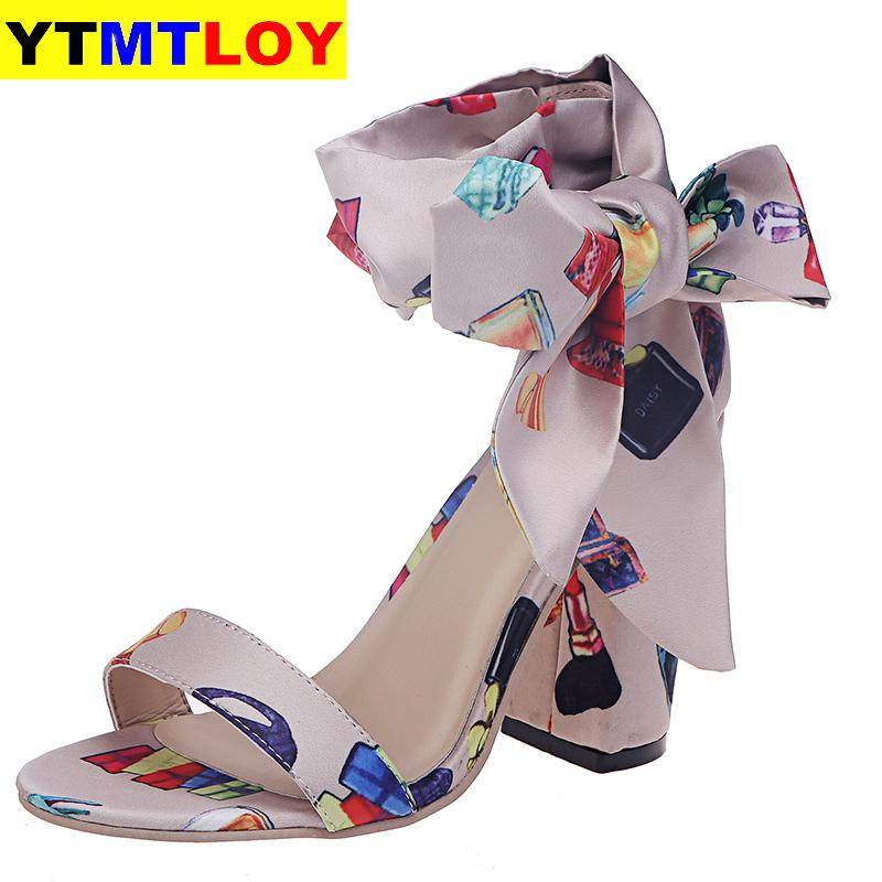 Women Summer Sandals High Square Heel Open Toe Plus Size Leather Heels Pumps Shoes 10 CM Female Fashion Gladiator  Ankle Strap