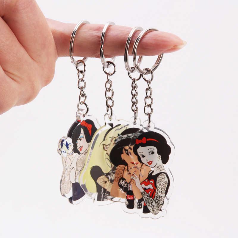 Nette Cartoon Icons Cooles Tattoo Mädchen prinzessin schlüsselbund auf Rucksack Schlüssel Kette Acryl Schlüsselring für frauen mädchen geschenk