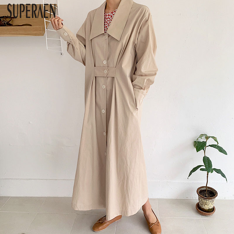 SuperAen Korean Style   Trench   Coat for Women New 2019 Autumn Cotton Casual Wild Ladies Windbreaker Lapel Single-breasted Coats