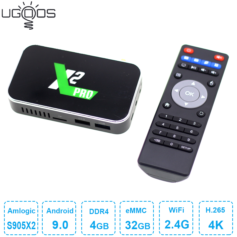 2019 Ugoos <font><b>X2</b></font> <font><b>Pro</b></font> Android 9.0 <font><b>TV</b></font> <font><b>Box</b></font> Amlogic S905X2 DDR4 4GB 32GB <font><b>Smart</b></font> <font><b>TV</b></font> <font><b>Box</b></font> 2.4G 5G WiFi 4K Media Player X2pro Set Top <font><b>Box</b></font> image