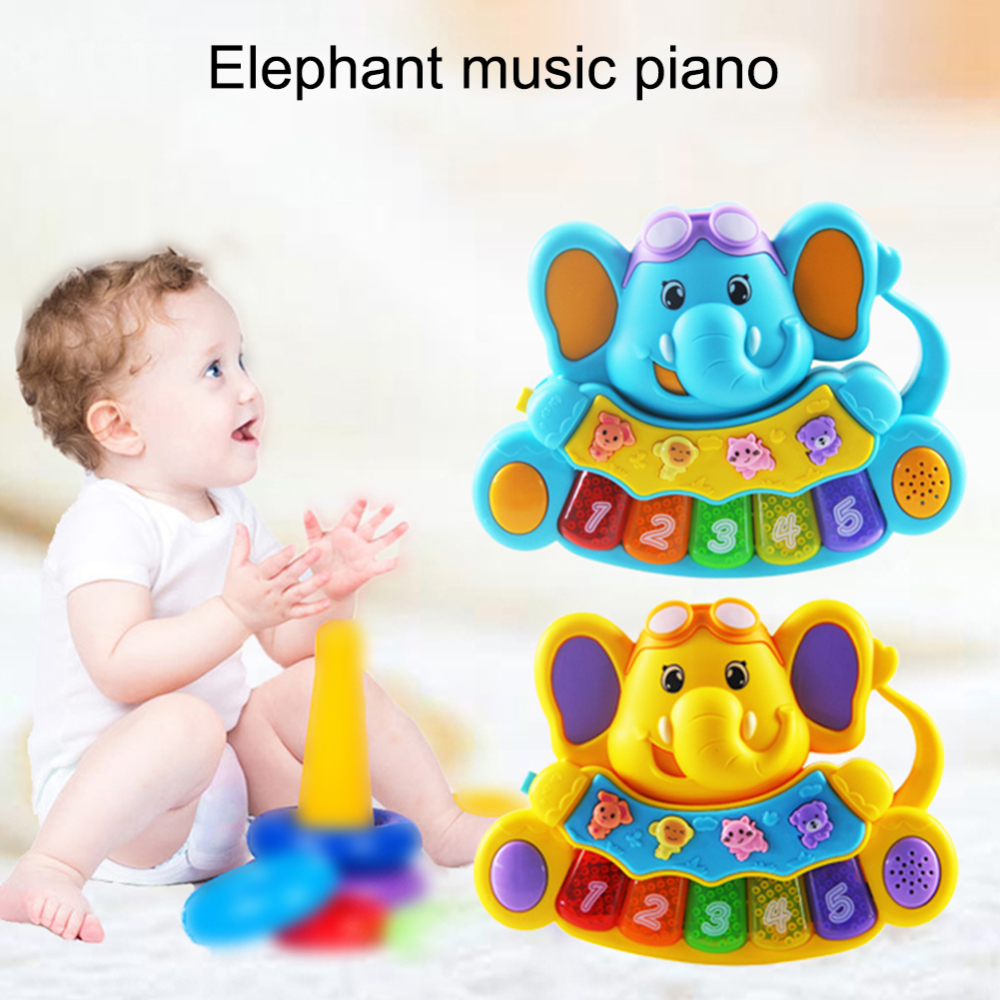 Baby Music Toy Educational Musical Piano Elephant Model Kids Auditory Development Toy